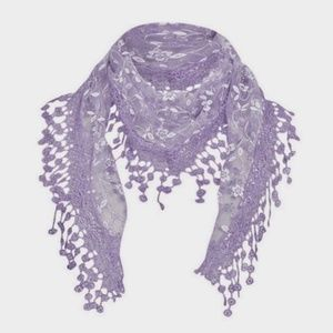 Lace Crochet Embroidery Scarf Hair Tie Lavender